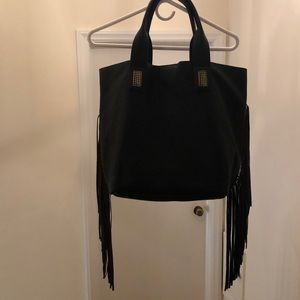 Black fringed tote bag. Great condition!